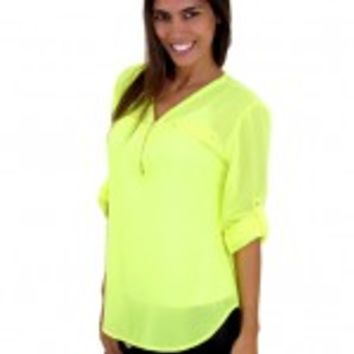 Neon Yellow Sheer Top With Zipper