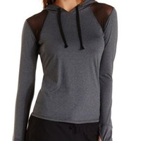 Black Combo Mesh Cut-Out Performance Hoodie by Charlotte Russe