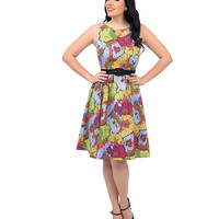 Purple, Blue & Green Painted Floral Sleeveless Belted Swing Dress