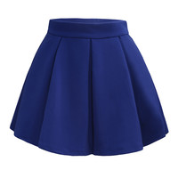Womens Pleated Flared Mini Skater Skirt