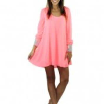 Neon Pink Tunic With Rhinestone Cuffs