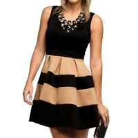 Taupe Sleeveless Skater Stripe Dress