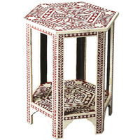 Red & White Bone Side Table