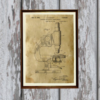Microscope poster Industrial decor Patent print Vintage art AKP245
