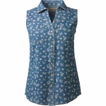 Bit & Bridle™ Ladies' Sleeveless Y-Neck Cotton Printed Denim Shirt