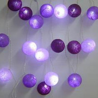 String Lights - Purple Cotton Ball, wall hanging, home decor, holidays decoration, holidays favor