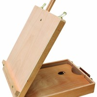 "US Art Supply® Newport Large Adjustable Wood Table Sketchbox Easel, 17-3/4""x13""x5-3/8"" - Desktop Artist Easel - Wooden Portable Compact Stand - Student Drawing Painting With FREE wooden Pallete"