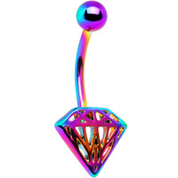 Rainbow Electro Titanium Cut-Out Diamond Belly Ring   Body Candy Body Jewelry