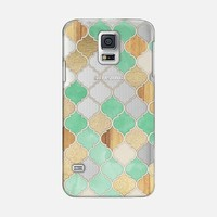 Mint Green, Gold & Wood Moroccan Pattern on Transparent Galaxy S5 case by Micklyn Le Feuvre | Casetify