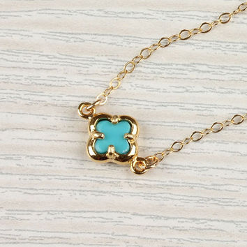 """Turquoise clover necklace, lucky charm necklace, tiny gold clover, 14k gold filled, bridal necklace, """"Turquoise Clover"""" Necklace"""