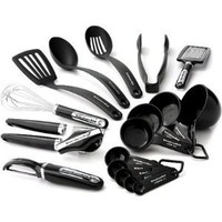 KitchenAid Cook's Series 17-Piece Starter Tool and Gadget Set, Black