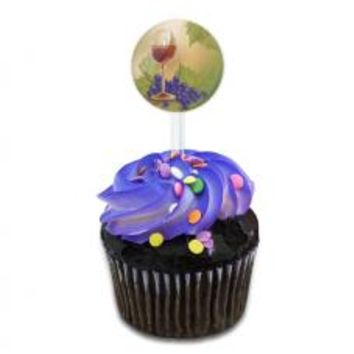 Wine Glass and Grapes Cupcake Toppers Picks Set