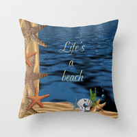Life's A Beach Throw Pillow by LLL Creations