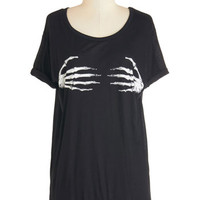 ModCloth Skulls Mid-length Short Sleeves I Can Digit! Tee
