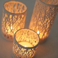 Branches of light 3 set porcelain candle by tokyocraftstudios