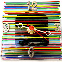 Table clock handmade by dalit glass by dalitglass on Etsy