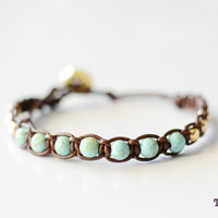 TINNLILY Beaded Woven Leather Bracelet by TINNLILY on Etsy