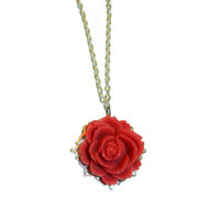 Red Rose Charm Necklace