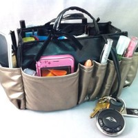 """3-6 Days Delivery- Jolie Pewter and Black Handbag Organizer Travel Cosmetic Make-Up Tote Bag Very Lightweight Insert Dimensions: L 7.5""""x H 6""""x W 3.5"""""""