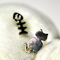Cat and Fish Earring