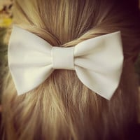 white BIG hair bow