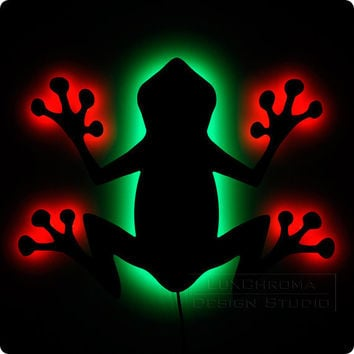 Tree Frog Lighted Wall Art Fun Red Green Decorations by LuxChroma