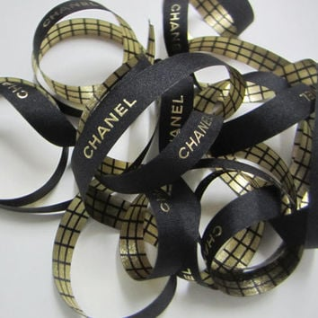 """Authentic CHANEL Black Ribbon with Gold Logo Letters 7/16"""" - 1 YARD / Gold and Black Checker Box Ribbon DIY Headband Hairbow / Gift Wrapping"""