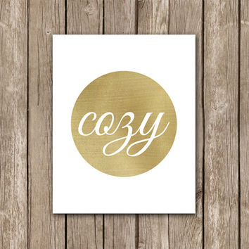Cozy Printable Wall Art Decor Poster - Gold and White Home Decor - Digital Art Print - INSTANT DOWNLOAD
