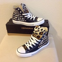 Custom studded black Converse Chuck Taylors with faux leopard fur size 8 women