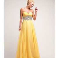 2014 Prom Dresses - Yellow Chiffon & Stone Basque Gown