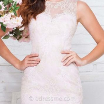 Lace Sheath Mini Prom Gown by Tony Bowls Shorts