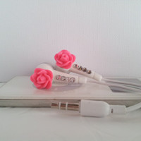 Pink Rose Flower Earbuds  With Swarovski Crystals