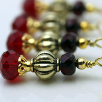 Vintage Style Red Rondelle and Gold with Czech Bead Earring Dangle Necklace Pendant Charm Drop Set