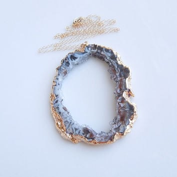 Geode Necklace in Gold - Druzy Necklace - Large Size - OOAK