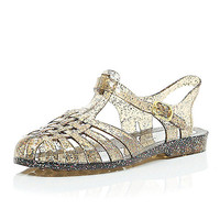 River Island Womens Silver glittery jelly shoes