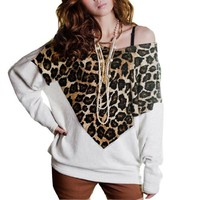 Allegra K Women Leopard Print Casual Batwing Top Fall Loose T Shirts