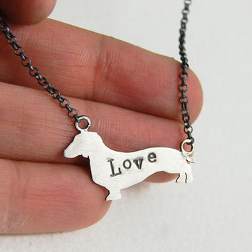 Sterling Silver Dachshund Dog Love Necklace  5 dollars by MarKhed