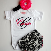 Personalized Baby Girl Clothes Damask Diaper Cover Flower Headband Newborn Girl Take Home Monogrammed Baby Girl Outfit Gift Set
