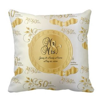50th Golden Wedding Anniversary Pillows