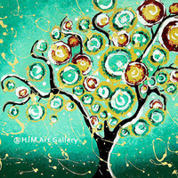 Turquoise Tree of Life Art Print - Whimsical Art Whimsy Cottage Decor Wall Art 13x18 Signed