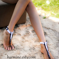 T-strap black and white Barefoot Sandals, Nude shoes, Foot jewelry, Bridal shoes, Sexy, Yoga, Anklet , Bellydance, Steampunk, Beach Pool