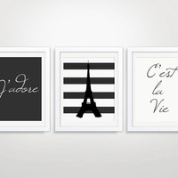 8x10 or 11x14 Set of Three Prints Eiffel Tower Paris Wall Art French Quote Art Print C'est La Vie J'adore Wall Art Set