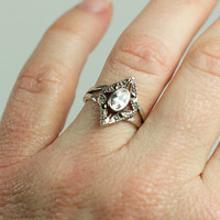 Vintage silver marcasite and crystal ring by TwiceBakedVintage