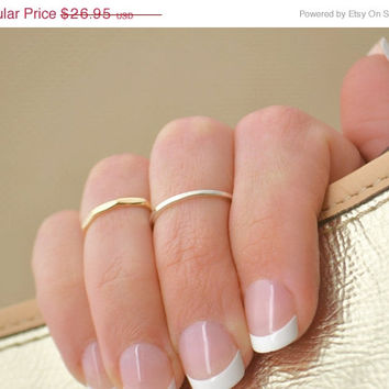 Christmas In July Midi Ring - Knuckle Ring - Silver Band - Stacker Ring -  Sterling Silver Ring - Smooth Ring -  Flat Band