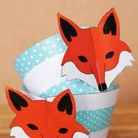 Printable 3D Fox Party Cupcake Set with fox face wrappers and face and tail toppers , aqua blue polka dot pattern INSTANT DOWNLOAD