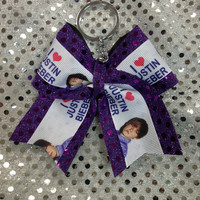 Justin Bieber Purple Sparkle Cheer/Cheerleading/Dance Bow Ribbon Keychain