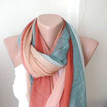 Hand Dyed brick red rust tones Long Scarf Pareo Shawl by Periay