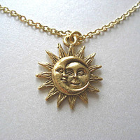Gold Sun and Moon Pewter Charm Celestial Necklace, Gift for her