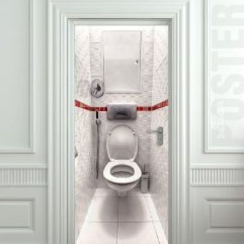 "Wall Door STICKER toilet WC bathroom water closet , mural, decole, film 30x79"" (77x200 Cm)"