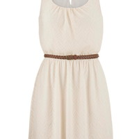Belted Embroidered Mesh Overlay Dress